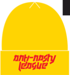 Gold 'Anti Nasty League' beanie.