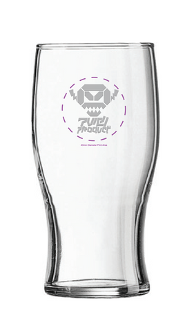 'Tulip' pint glass. Masked robot head.