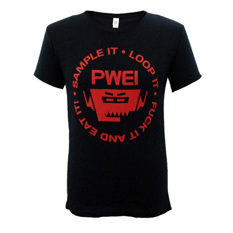 PWEI Sample It, Loop It Tee (Black with red logo)