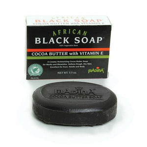 African Cocoa Butter Black Soap, Natural Bar Soap, African Black Bath Soap Bar For Men & Women