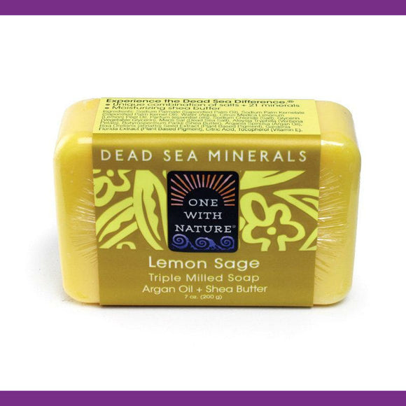 Dead Sea Minerals Lemon Sage Soap Bar with Argan Oil and Shea Butter, Skin Care, Deep Cleanse