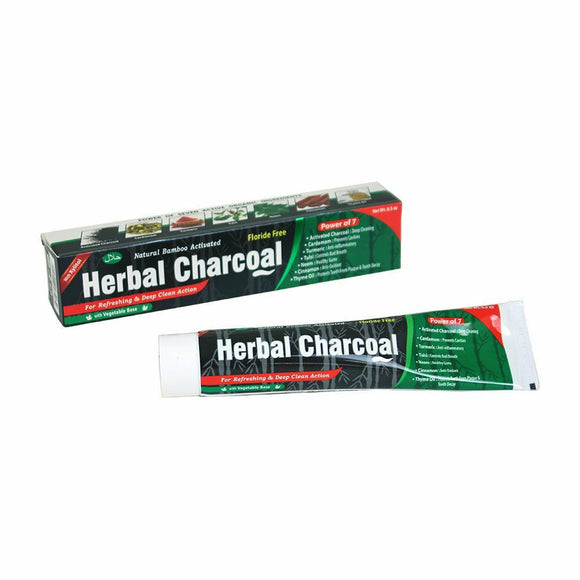Herbal Charcoal Toothpaste, Fluoride Free, Seven Active Organic Ingredients; Charcoal, Cardamom, Turmeric, Tulsi, Neem, Cinnamon, Thyme Oil