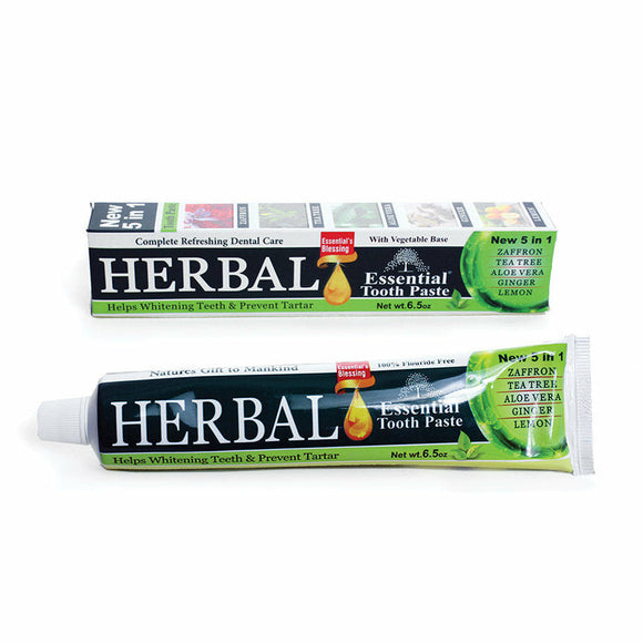 Herbal Essential Toothpaste, Fluoride free with Zaffron, Tea Tree, Aloe Vera, Ginger, Lime, Whitens Teeth, Removes Stains, Enamel and Gums