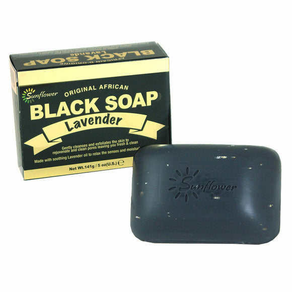 Lavender African Black Soap, Natural and Full of Antioxidants, Purify, Exfoliate, Fight Acne, Clear Skin Bar Soaps