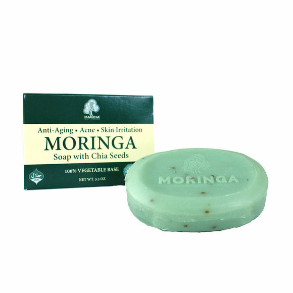 Moringa Soap with Chia Seeds, Antioxidant Properties, Purify Skin, Acne, Blackheads, Exfoliates