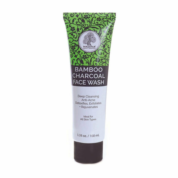 Bamboo Charcoal Face Wash, Absorb Oils and Impurities, Detoxify Skin, Deep Clean, Remove Dirt, Impurities and Make-up