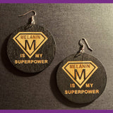 Melanin Is My Super Power, Wood Earrings, Black and Brown Earrings, Women Earrings, Melanin Earrings, Dangle Earrings, Statement Earrings