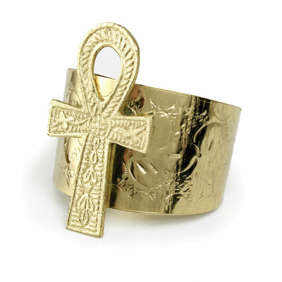 Gold Ankh Cuff Bracelet, Cuff Bracelet, Ankh, Gold Cuff, One Size Fits All, Adjustable