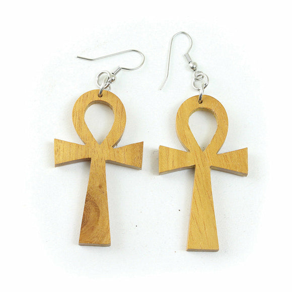 Wood Ankh Earrings, Fashion Earrings, Dangle Earrings, Afrocentric Earrings, Egyptian Symbol Earrings, Ankh Jewelry, African Earrings