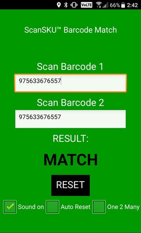 Barcode comparison match 1