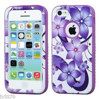iPhone 5C Purple Flower Print Hybrid Multi-Layer Hard Cover Case