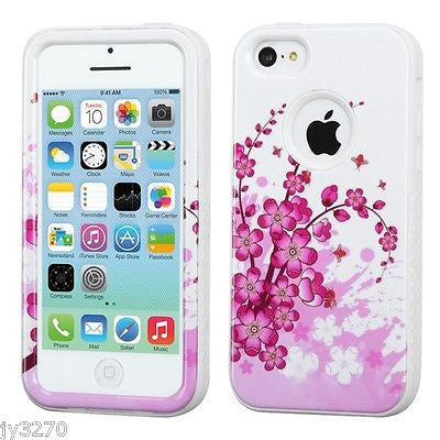 iPhone 5C Spring Flowers Print Hybrid Hard Cover Case