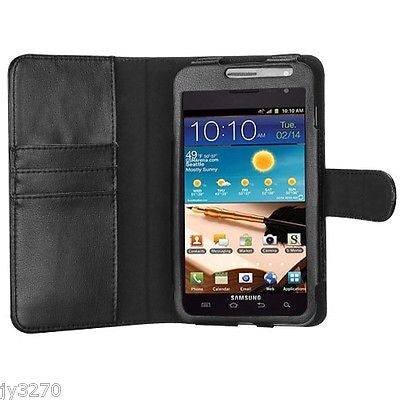 Samsung Galaxy Note T879 I717 Black MyJacket Wallet Style Leather Case