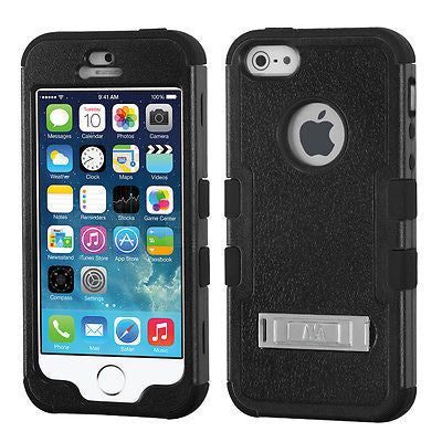 iPhone 5S 5 Hybrid Multi-Layer Shockproof Cover Case with Metal Kickstand