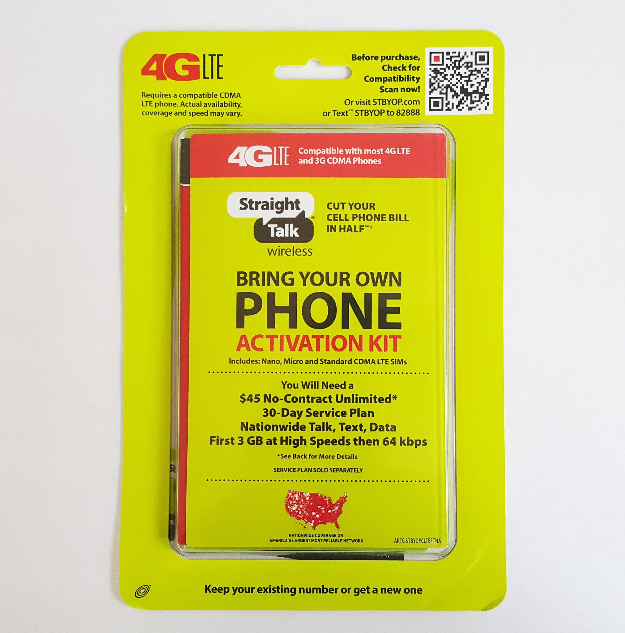 Straight Talk AT&T Micro and Standard SIM Card for GSM Network Dual