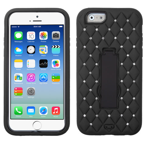 iPhone 6 Hybrid Rhinestones Heavy Duty Stand Hard Cover Case Black