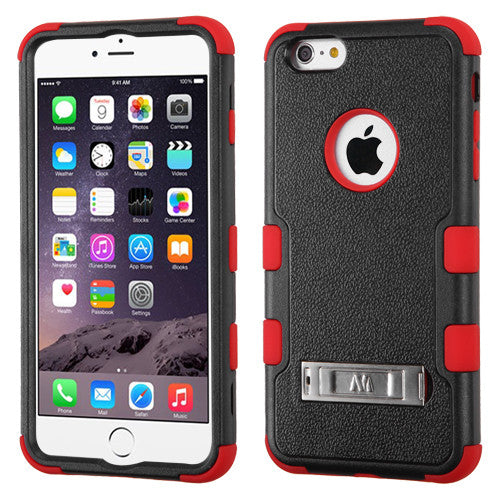 iPhone 6 Plus Hybrid Cover Hard Armor Case w/ Metal Stand Black/Red