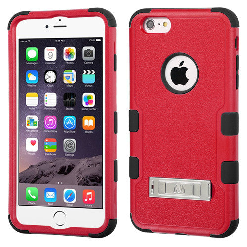iPhone 6 Plus Hybrid Cover Hard Armor Case w/ Metal Stand Red/Black