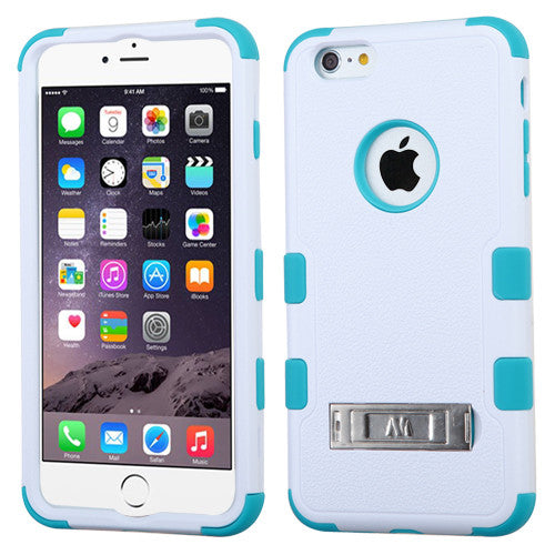 iPhone 6 Plus Hybrid Cover Hard Armor Case w/ Metal Stand White/Teal