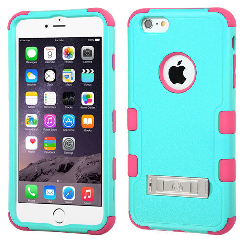 iPhone 6 Plus Hybrid Cover Hard Armor Case w/ Metal Stand Green/Pink