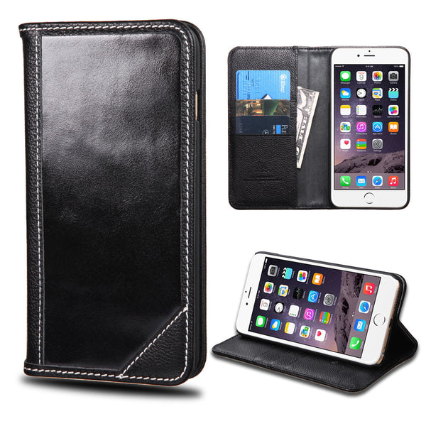 Apple iPhone 6 Plus Black Genuine Premium Leather Flip Cover Wallet Case