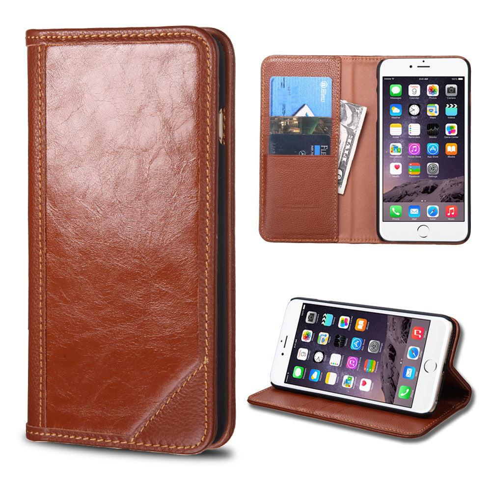 newest 87123 af95c Apple iPhone 6 Plus Brown Genuine Premium Leather Flip Cover Wallet Case