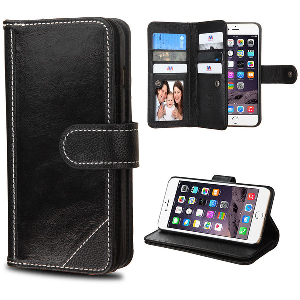 Apple iPhone 6 Plus Black Genuine Leather D'Lux Wallet Case