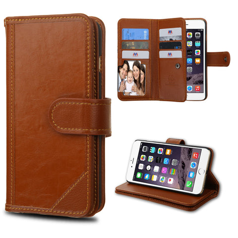Apple iPhone 6 Plus Brown Leather D'Lux Wallet Case