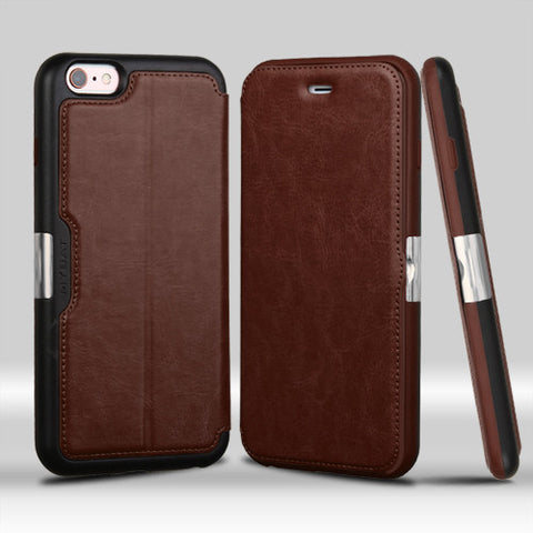 Apple iPhone 6 Plus 6S Plus Brown Leather NeoUrban Flip Cover Wallet Case