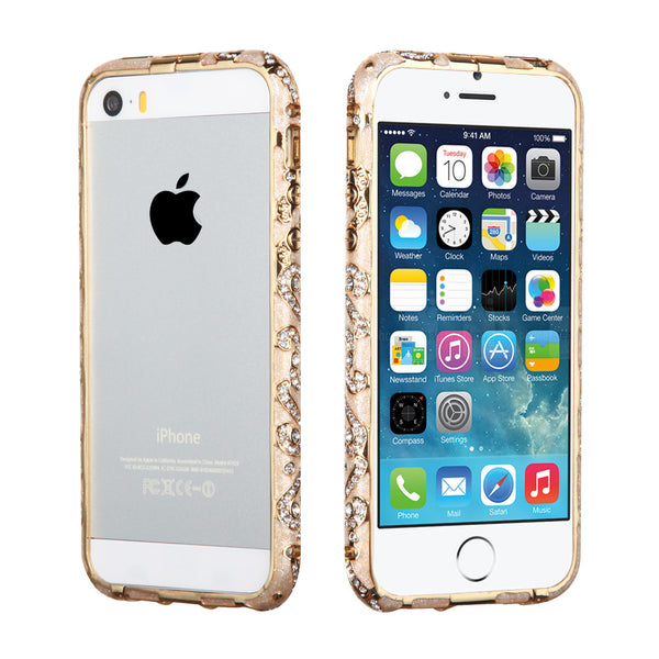 iPhone 5S 5 Metal Bumper Case Surround Shield with Diamond Design