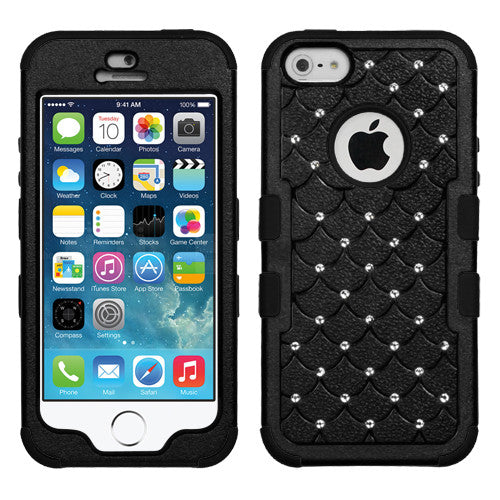 iPhone 5S 5 Case Hybrid Rhinestones Multi-Layer Hard Cover