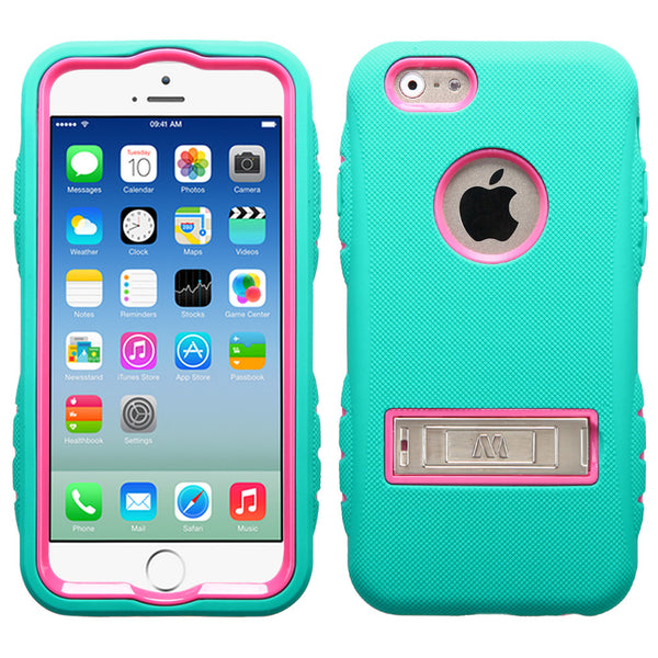 iPhone 6 TUFF Hybrid Phone Protector Cover with Metal Stand Green/Pink