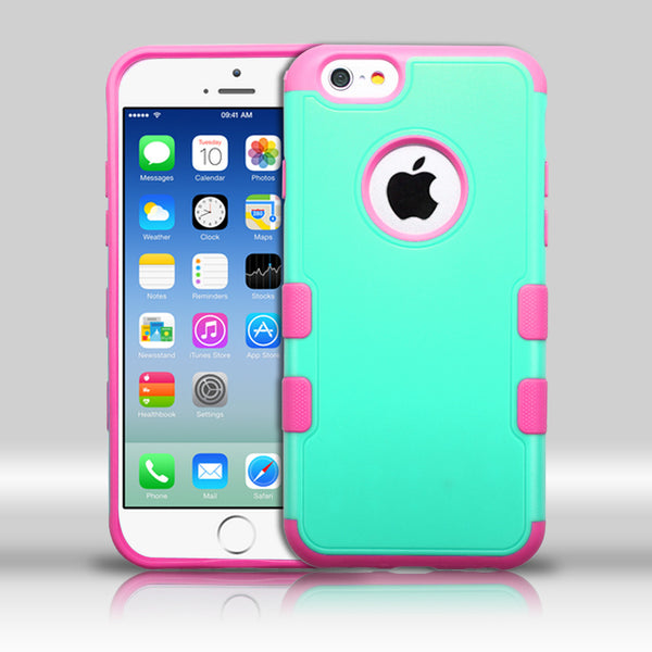 iPhone 6 TUFF Merge Hybrid Cover Case - Teal Green/Electric Pink