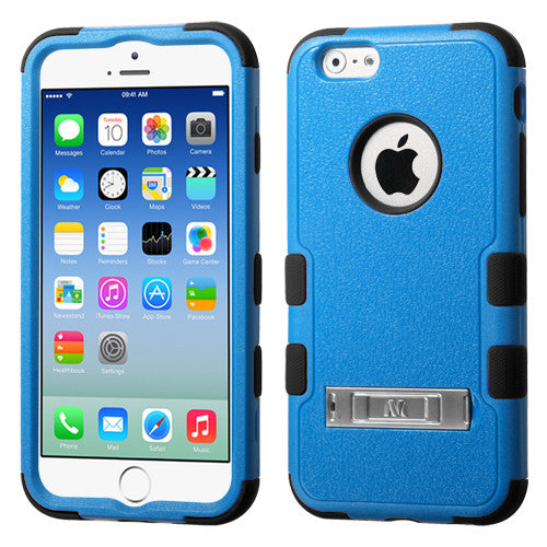 iPhone 6 Hybrid Cover Hard Armor Case with Metal Kickstand Blue/Black