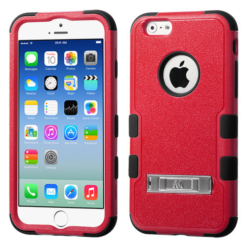 iPhone 6 Hybrid Cover Hard Armor Case with Metal Kickstand Red/Black