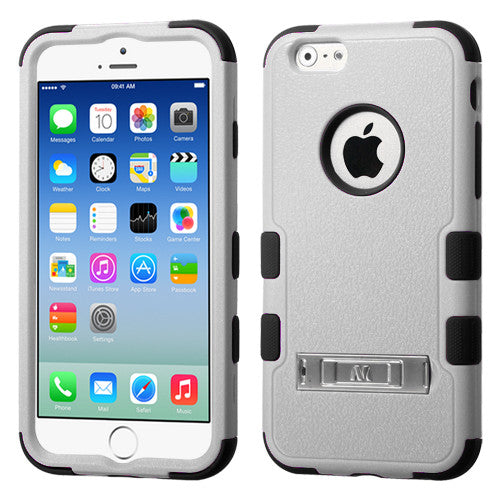 iPhone 6 Hybrid Cover Hard Armor Case with Metal Kickstand Grey/Black