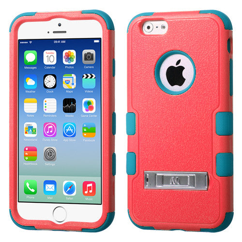 iPhone 6 Hybrid Cover Hard Armor Case w/ Metal Kickstand Baby Red/Teal
