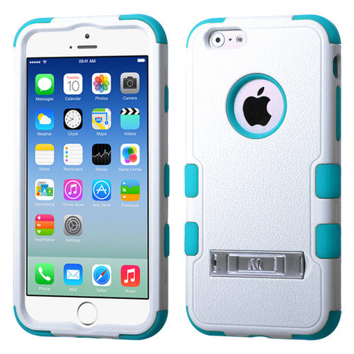 iPhone 6 Hybrid Cover Hard Armor Case with Metal Kickstand White/Teal