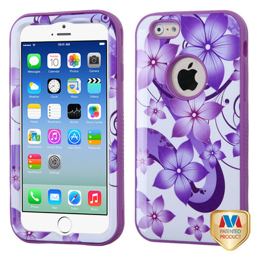 iPhone 6 6S Purple Flower Hybrid Shockproof Hard Cover Case
