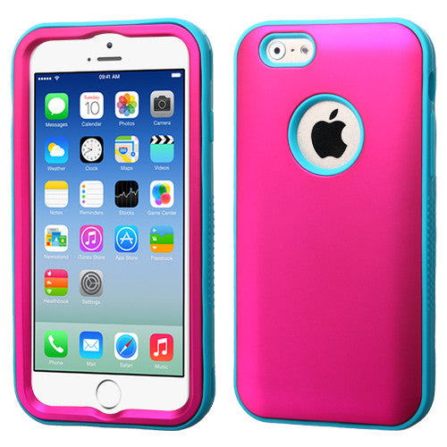 iPhone 6 Hybrid Rugged Hard Cover Dual Layer Skin Case - Pink/Teal