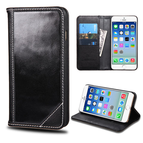 Apple iPhone 6 Black Genuine Premium Leather Flip Cover Wallet Case