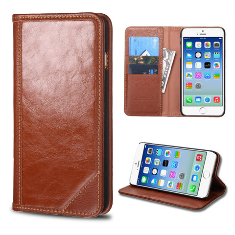 Apple iPhone 6 Brown Genuine Premium Leather Flip Cover Wallet Case