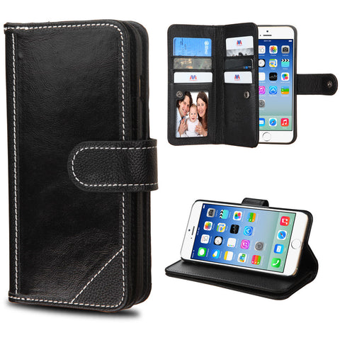 Apple iPhone 6 Black Genuine Leather D'Lux Wallet Case