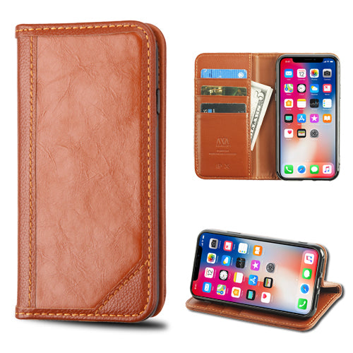 buy popular f178a 83d8f Apple iPhone X Genuine Premium Leather Flip Cover Wallet Case Brown