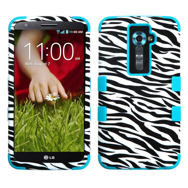 LG G2 Case Hybrid Rugged Multi-Layer Hard Cover - Zebra/Teal
