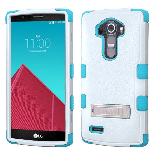 LG G4 Hybrid Hard Armor Case w/ Metal Stand White/Teal