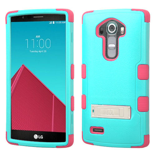 LG G4 Hybrid Hard Armor Case w/ Metal Stand Green/Pink