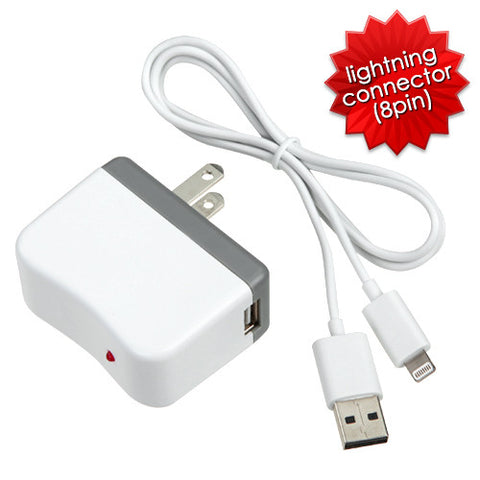 iPhone 5S 5C 5 Licensed Apple White MFi Travel Chargers w/ Sync cable