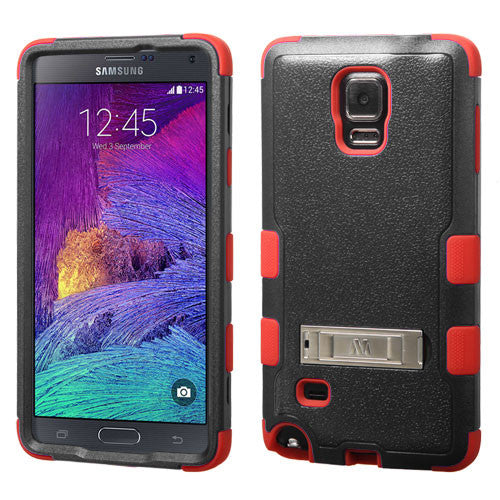 Galaxy Note 4 Hybrid Hard Armor Case w/ Metal Kickstand Black/Red