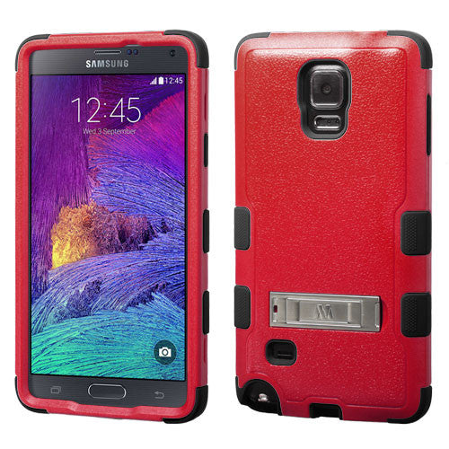 Galaxy Note 4 Hybrid Hard Armor Case w/ Metal Kickstand Red/Black